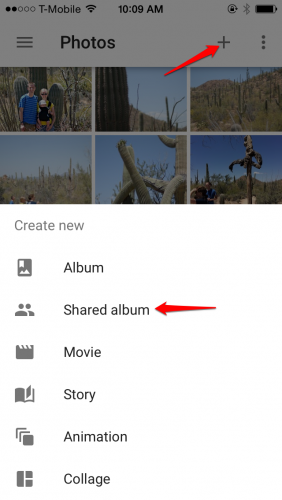 Create Google Photos Shared Album