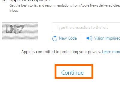 Create your Apple ID - Continue