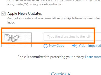 Create your Apple ID - captch