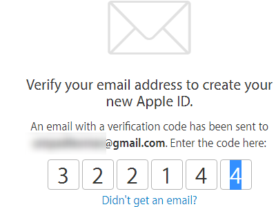 Create your Apple ID - confirm registration