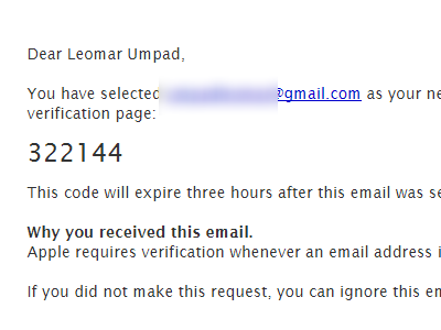 Create your Apple ID - emailed confirmation