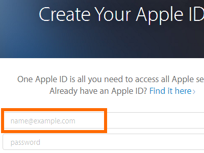 Create your Apple ID - name