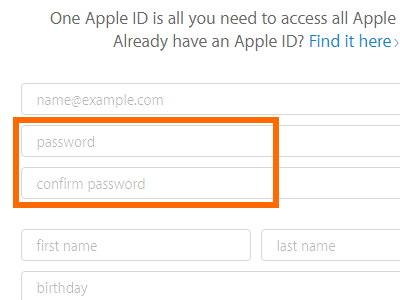 Create your Apple ID - password