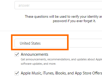Create your Apple ID - select country