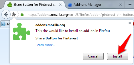 Install share button for pinterest