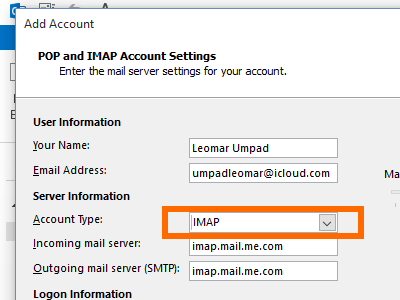 Microsoft Outlook - File - Add Account - manual setup - Account type IMAP