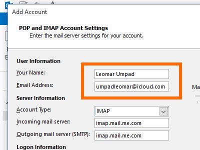 Microsoft Outlook - File - Add Account - manual setup - Name and account
