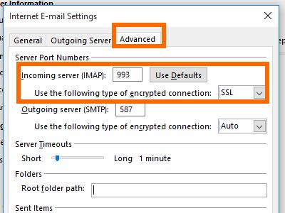 Microsoft Outlook - File - Add Account - manual setup - more - Advance - incoming