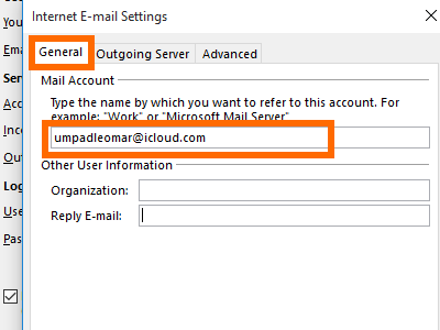 Microsoft Outlook - File - Add Account - manual setup - more - general