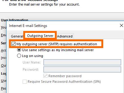 Microsoft Outlook - File - Add Account - manual setup - more - outgoing SMTP
