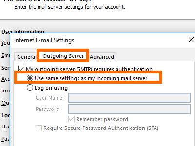Microsoft Outlook - File - Add Account - manual setup - more - use same settings