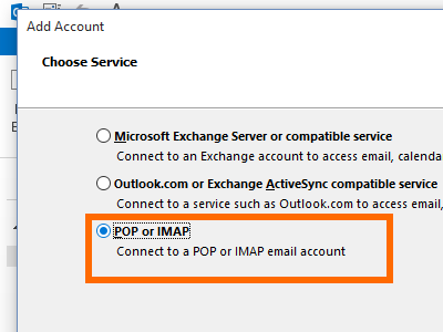Microsoft Outlook - File - Add Account - manual setup - pop or imap