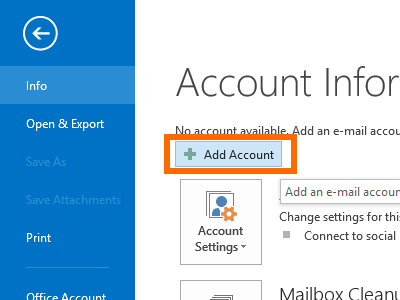 Microsoft Outlook - File - Add Account
