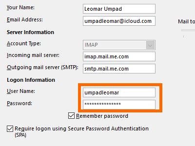 Microsoft Outlook - username and pass