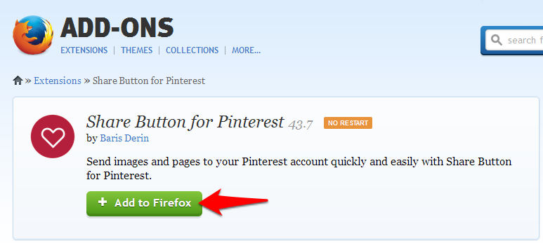 Pinterest Add on for Firefox
