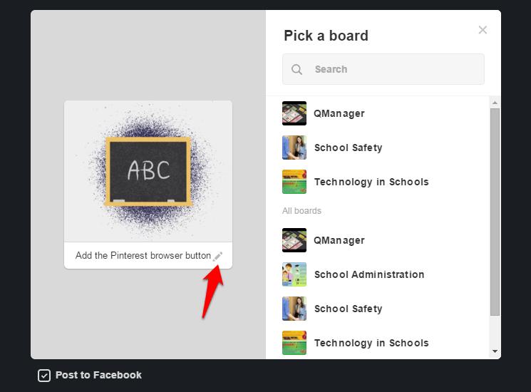 Pinterest button choose board