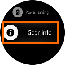 Samsung Galaxy Gear S2 - Settings - Gear Info