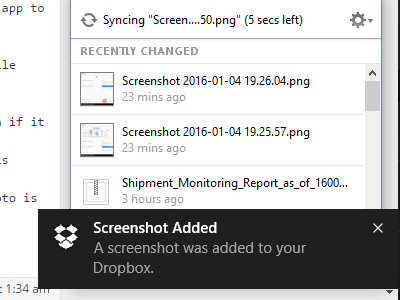 Screenshot is saved in dropbox