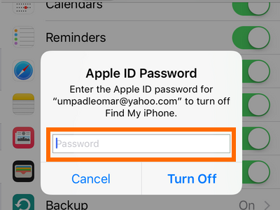 Settings - iCloud - Enter apple ID password