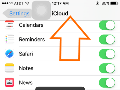 Settings - iCloud - Scroll down