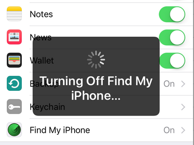 Settings - iCloud - Turning off Find my iphone