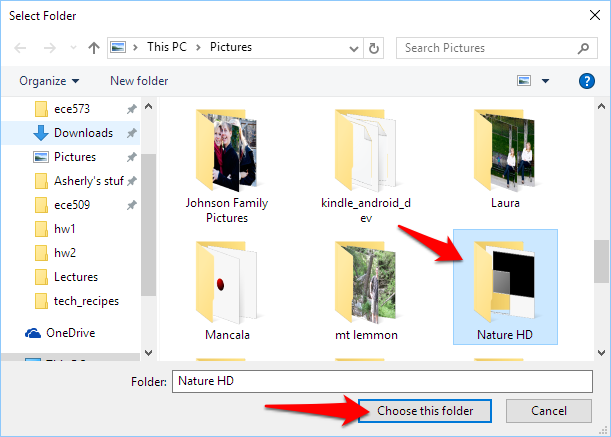 choose desktop slideshow folder