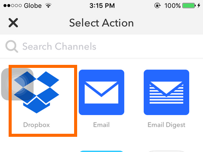 iPhone IFTTT - Create Recipe - Action - Dropbox