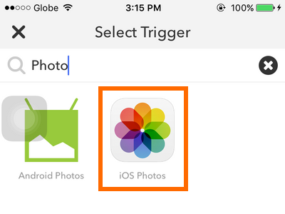 iPhone IFTTT - Create Recipe - Trigger - iOS Photos