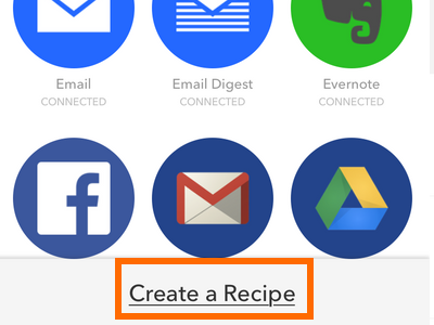 iPhone IFTTT - Recipe Icon - Add Recipe - Create Recipe