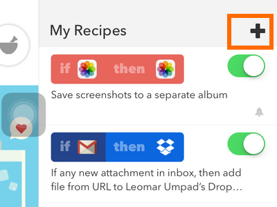iPhone IFTTT - Recipe Icon - Add Recipe