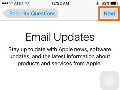 iPhone Settings - iCloud - Create a New Apple ID - Apple updates - NExt