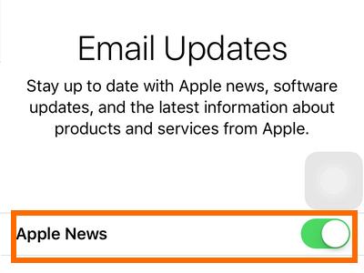 iPhone Settings - iCloud - Create a New Apple ID - Apple updates