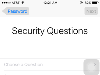 iPhone Settings - iCloud - Create a New Apple ID - Choose security questions