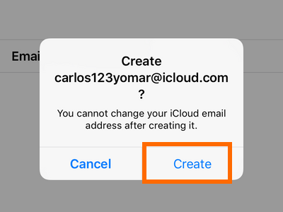 iPhone Settings - iCloud - Create a New Apple ID - Choose username - Create. png