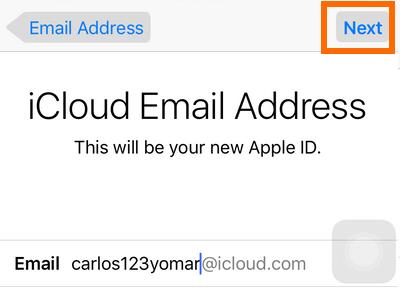 iPhone Settings - iCloud - Create a New Apple ID - Choose username - Next