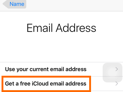 iPhone Settings - iCloud - Create a New Apple ID - Get a free icloud email address