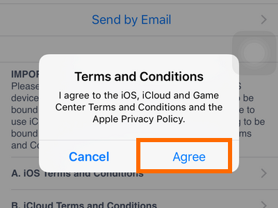 iPhone Settings - iCloud - Create a New Apple ID - Terms and conditions Agree