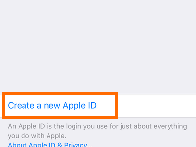 iPhone Settings - iCloud - Create a New Apple ID