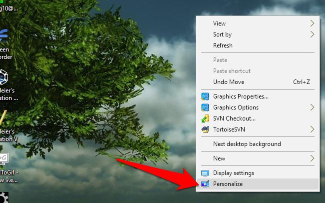 windows 10 personalize