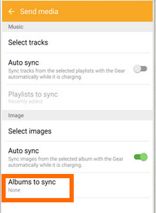 Android - apps - Samsung Gear - Albums to Auto Sync