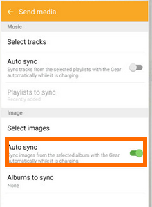 Android - apps - Samsung Gear - Select Images - Auto Sync