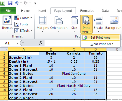 Excel Print on one page print area