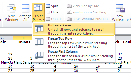 Excel unfreeze