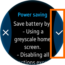Samsung Gear S2 - Settings - Power Saving - Check Mark