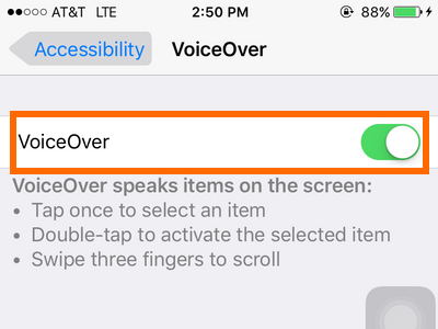 iphone - settings - general - accessibility - voice over button ON