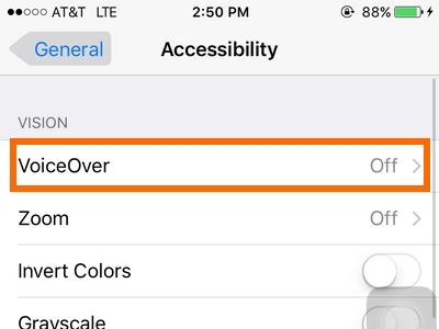 iphone - settings - general - accessibility - voice over