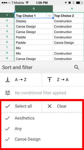 Apply Filter in Google Sheets