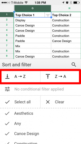 Filter in Google Sheets A to Z