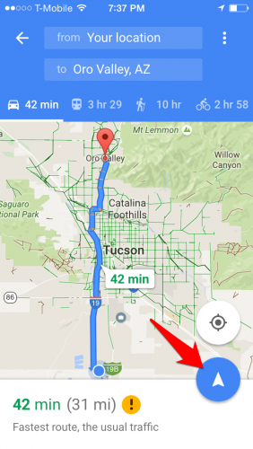 Google Maps Route Info