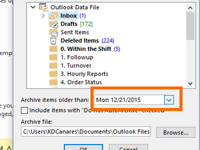 Outlook - File Menu - Info - Cleanup Tools - Archive - Choose Date